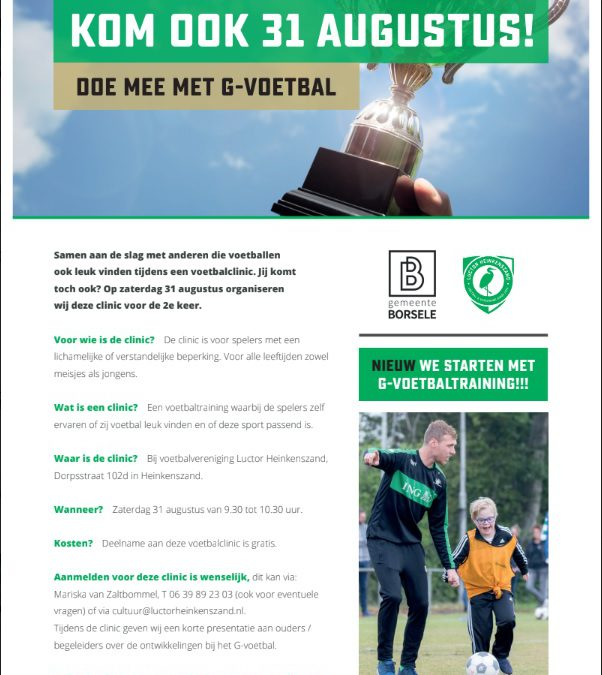 G-voetbal bij Luctor Heinkenszand: we gaan écht beginnen!